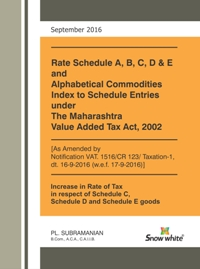 RATE SCHEDULE A, B, C, D & E AND ALPHABETICAL COMMODITIES INDEX TO SCHEDULE ENTRIES UNDER THE MAHARASHTRA VALUE ADDED TAX ACT, 2002