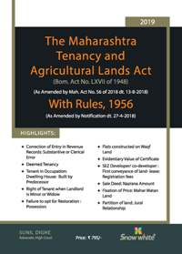 THE MAHARASHTRA TENANCY AND AGRICULTURAL LANDS ACT WITH RULES, 1956